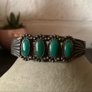 Oxidized Sterling Silver &  Green Turquoise Cuff